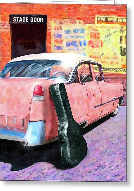 Greeting Card featuring the digital art Pink Cadillac At The Stage Door by Mark Tisdale