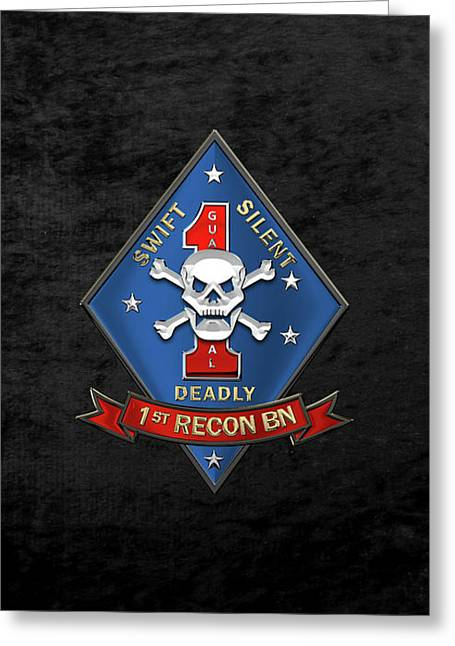 U S M C  1st Reconnaissance Battalion -  1st Recon Bn Insignia Over Black Velvet Greeting Card
