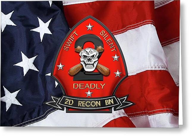 U S M C  2nd Reconnaissance Battalion -  2nd Recon Bn Insignia Over American Flag Greeting Card