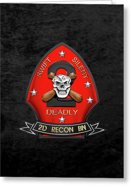 U S M C  2nd Reconnaissance Battalion -  2nd Recon Bn Insignia Over Black Velvet Greeting Card
