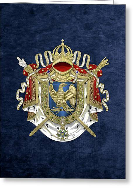 Greater Coat Of Arms Of The First French Empire Over Blue Velvet Greeting Card