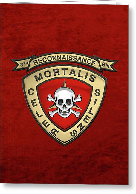 U S M C  3rd Reconnaissance Battalion -  3rd Recon Bn Insignia Over Red Velvet Greeting Card