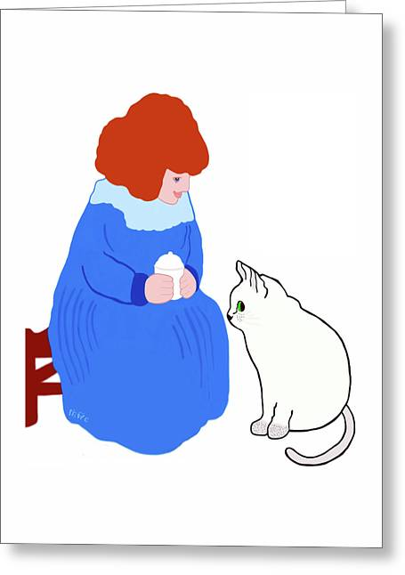 Greeting Card featuring the painting  Pussycat, Pussycat By Mother Goose by Marian Cates