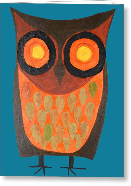 Give A Hoot Orange Owl Greeting Card