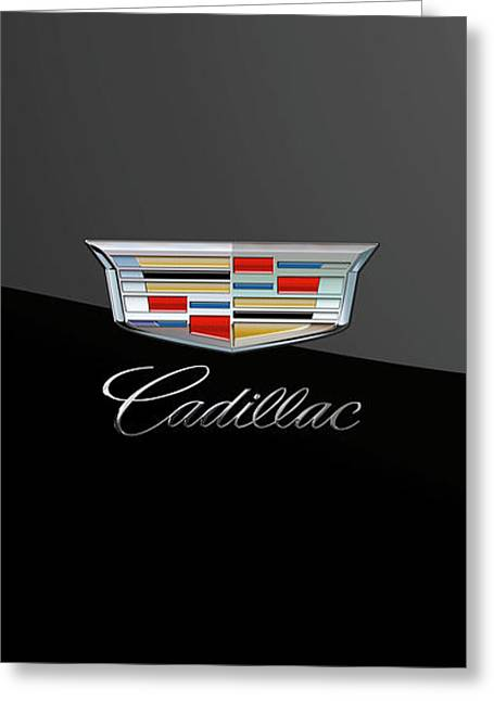 Cadillac New Badge - Luxury Edition On Black Greeting Card