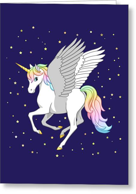 Pretty Rainbow Unicorn Flying Horse Greeting Card