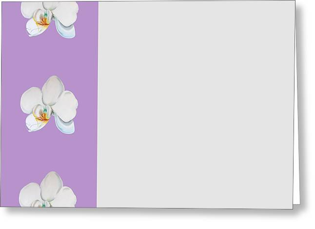 Greeting Card featuring the digital art Orchid On Lilac by Elizabeth Lock