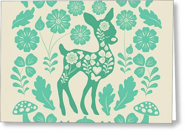 Mint Woodland Folk Deer  Greeting Card