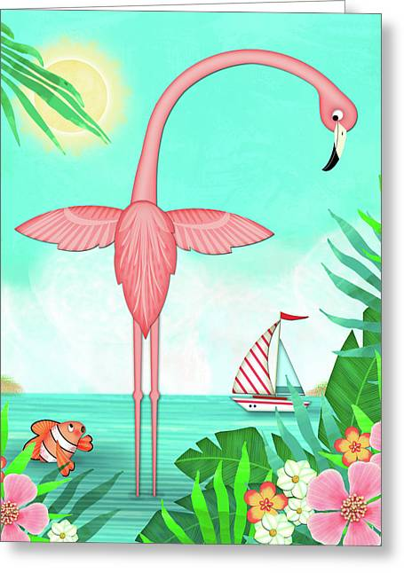 F Is For Flamingo Greeting Card