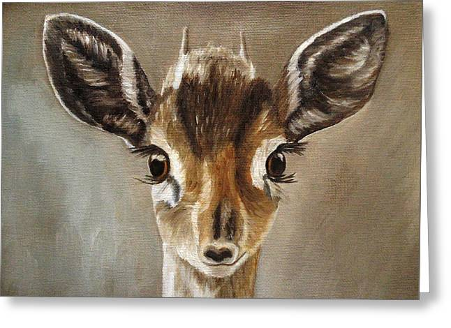 Greeting Card featuring the painting Big Eyes Dik-dik by Angeles M Pomata