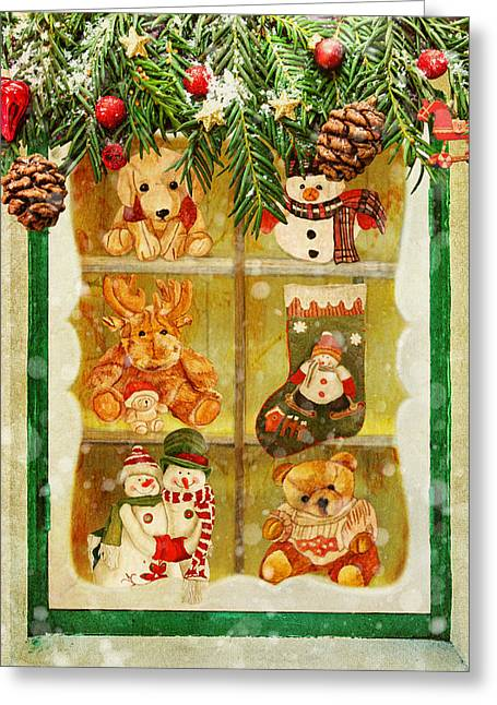 Greeting Card featuring the painting Welcome Christmas by Angeles M Pomata