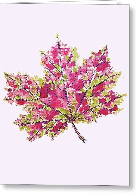 Colorful Watercolor Autumn Leaf Greeting Card