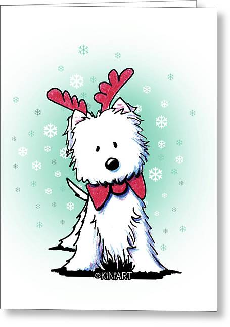 Kiniart Westie Reindeer Greeting Card