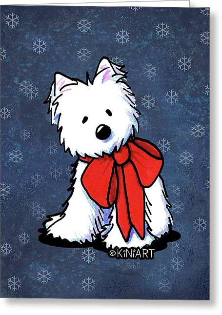 Kiniart Westie In Red Bow Greeting Card