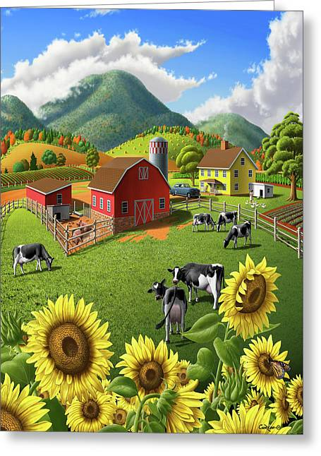 Sunflowers And Cows Farm Landscape Painting - 1950s Appalachian Painting - Rural Americana Folk Art Greeting Card