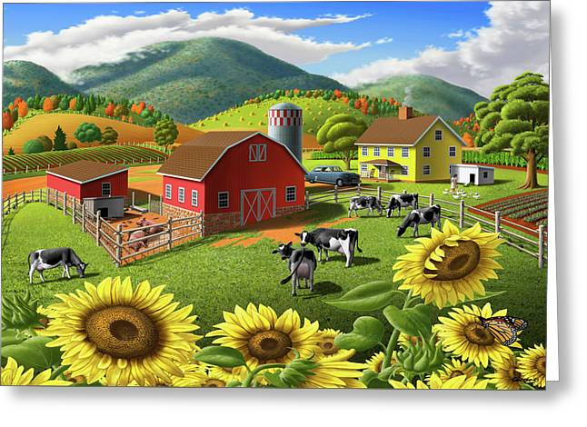 Sunflowers Cows Appalachian Farm Landscape - Rural Americana - Farm Animals - 1950 Farm Life - Barn Greeting Card