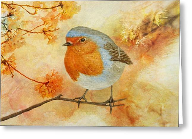 Greeting Card featuring the painting Robin Among Flowers by Angeles M Pomata
