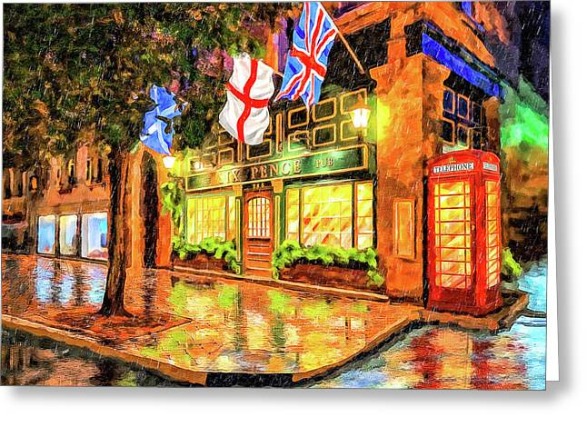 Six Pence Pub - Savannah In The Rain Greeting Card