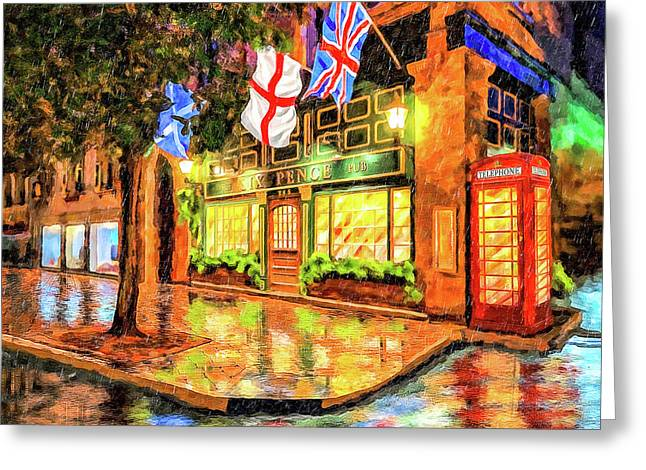 Greeting Card featuring the mixed media Six Pence Pub - Savannah In The Rain by Mark Tisdale
