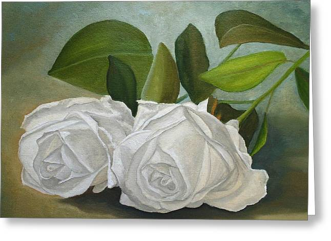 Greeting Card featuring the painting White Roses by Angeles M Pomata