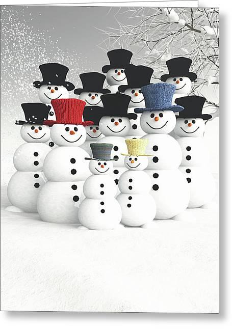 Greeting Card featuring the digital art Family Of Snowmen by Jan Keteleer