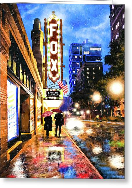 Rain Falling On Peachtree Street - Atlanta Greeting Card