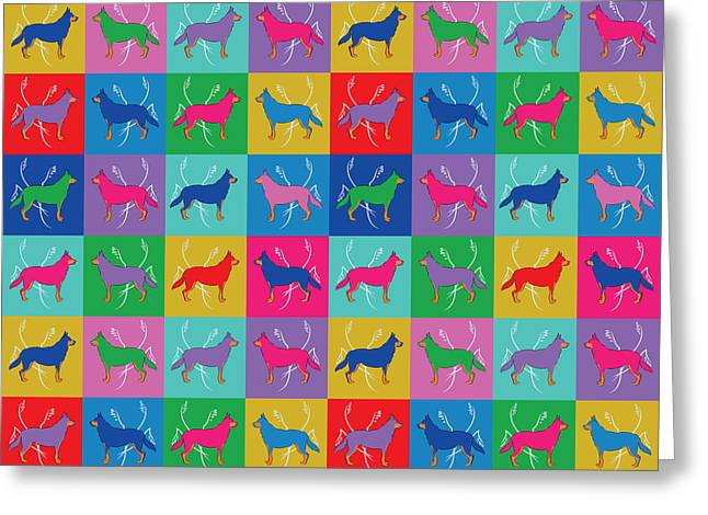 Greeting Card featuring the digital art Pop Art German Shepherd Dogs by MM Anderson