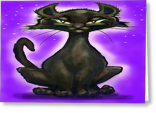 Black Cat Greeting Card by Kevin Middleton