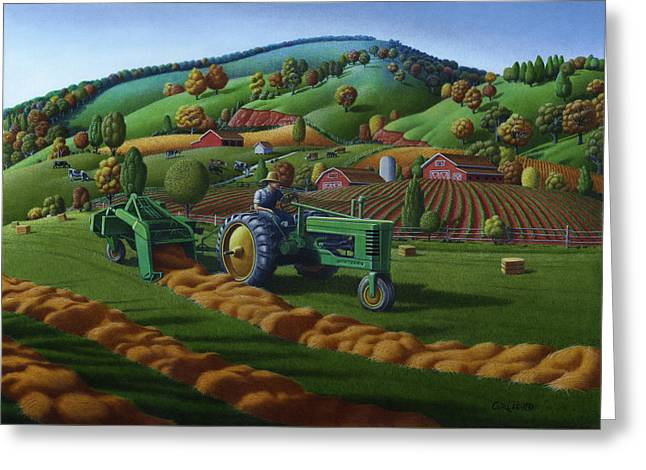 Rustic John Deere Farm Tractor Baling Hay - Rural Country Folk Art Landscape - Summer Americana Greeting Card