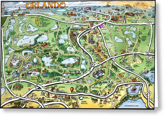 Orlando Florida Cartoon Map Greeting Card