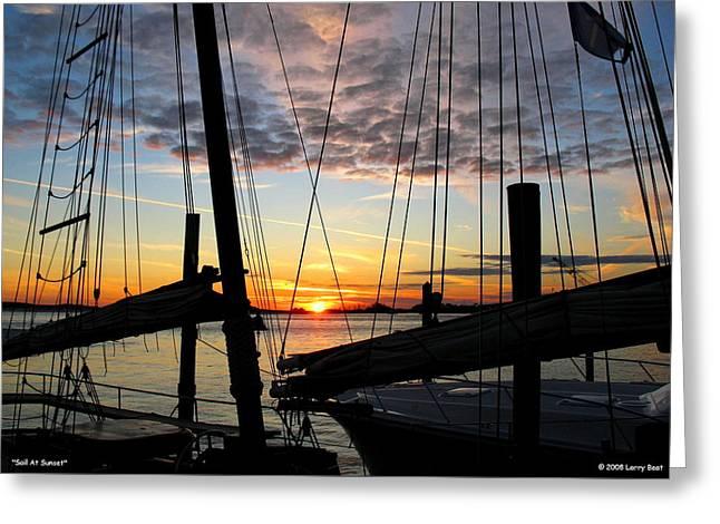 Sail At Sunset Greeting Card