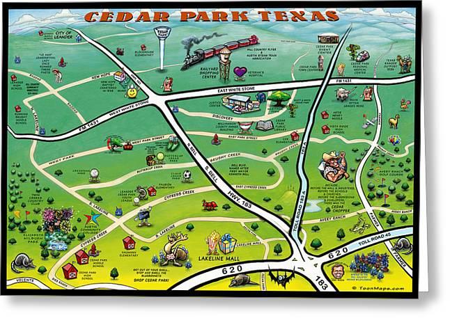 Cedar Park Texas Cartoon Map Greeting Card
