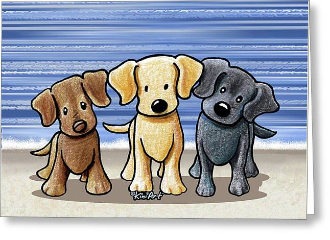 Labrador Beach Trio Greeting Card
