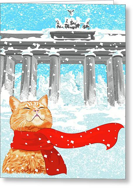 Cat With Scarf Greeting Card by Carolina Matthes