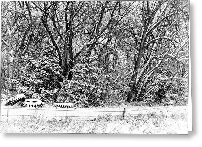 Three Tires And A Snowstorm Greeting Card