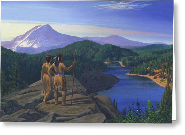 Native American Indian Maiden And Warrior Watching Bear Western Mountain Landscape Greeting Card by Walt Curlee