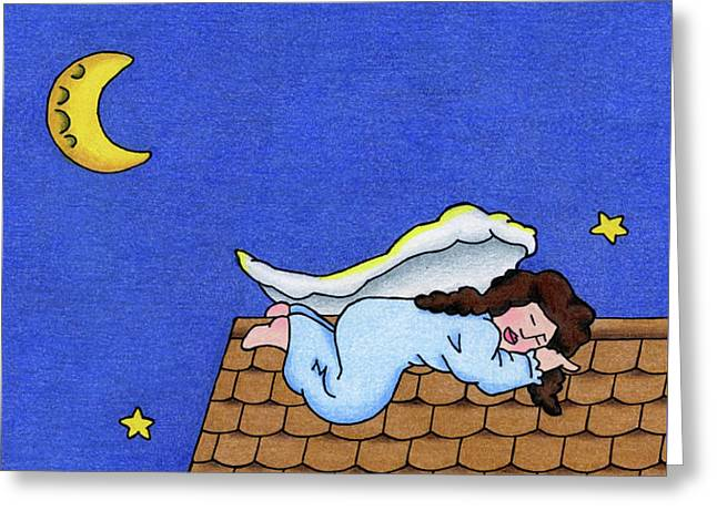 Rooftop Sleeper Greeting Card by Sarah Batalka