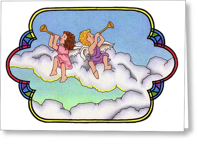 Stained Glass Cherubs Greeting Card