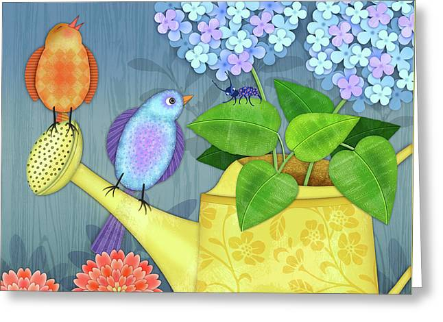 Two Birds On A Watering Can Greeting Card