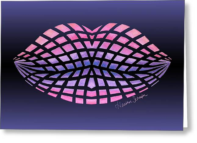 Vasarely Style Lips Greeting Card