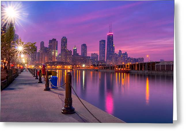 City Dreams - Chicago Skyline As Night Falls Greeting Card by Mark E Tisdale