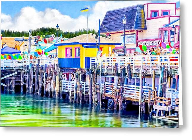 Colorful Pier In Monterey California Greeting Card by Mark E Tisdale