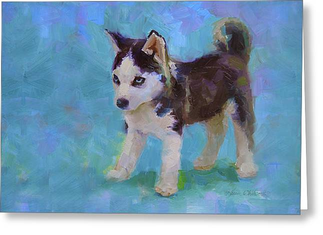 Alaskan Husky Sled Dog Puppy Greeting Card by Karen Whitworth
