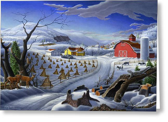Folk Art Winter Landscape Greeting Card by Walt Curlee