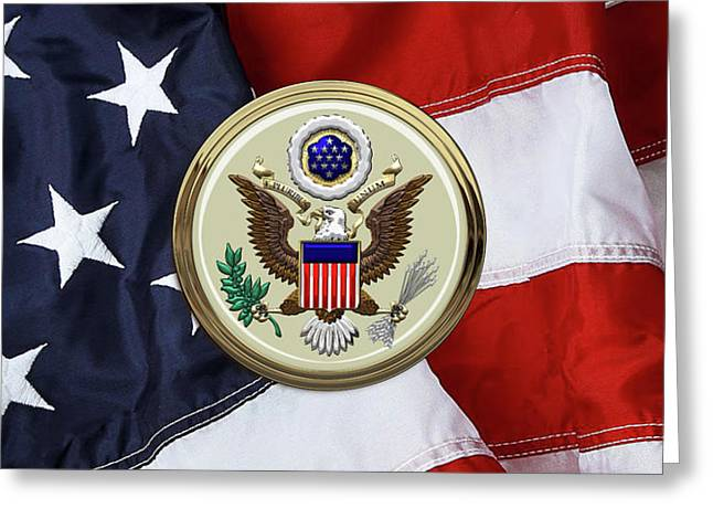 U. S. A. Great Seal Over American Flag Greeting Card by Serge Averbukh