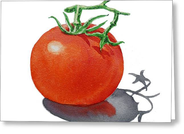 Farmers Market Greeting Cards - ArtZ Vitamins Tomato Greeting Card by Irina Sztukowski