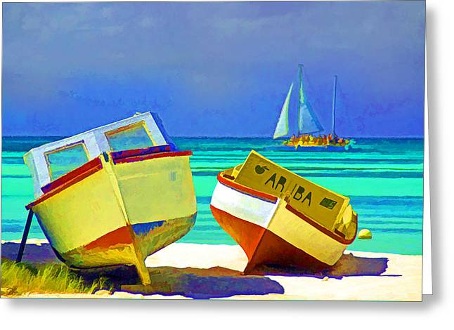 Aruba Boats Greeting Card by Dennis Cox
