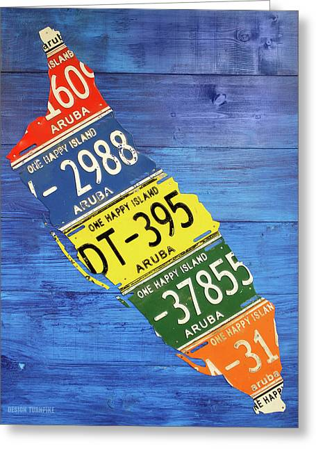 Aruba License Plate Map By Design Turnpike Greeting Card by Design Turnpike