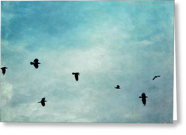 As The Ravens Fly Greeting Card by Priska Wettstein