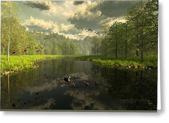 As The River Flows Greeting Card by Dieter Carlton